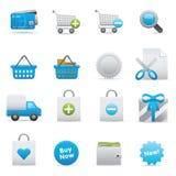 shopping för indigoblå serie för 01 symboler set Fotografering för Bildbyråer