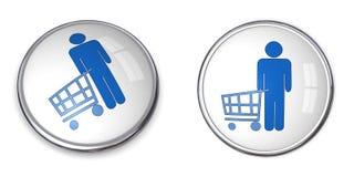 shopping för man för knapp 3d Arkivbild