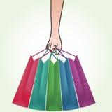 shopping för påsehandholding Royaltyfri Fotografi