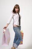 shopping för påselady Royaltyfri Fotografi