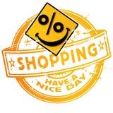 Shopping för Rubber stämpel med procentsatser royaltyfri illustrationer