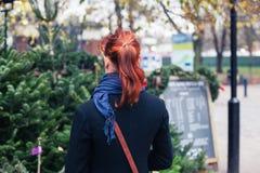 Shopping för ung kvinna för julträd Fotografering för Bildbyråer