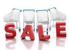 shopping för vagn 3d försäljning för glass hand för begrepp förstorande vektor illustrationer