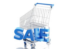 shopping för vagn 3d försäljning för glass hand för begrepp förstorande royaltyfri illustrationer