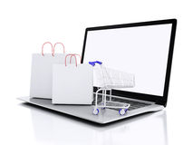 shopping för vagn 3d On-line shoppingbegrepp Arkivbilder