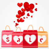 Shopping för valentindagvektorn hänger lös hälsningskortet Fotografering för Bildbyråer