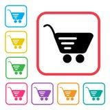 shopping f?r serie f?r vagnssymbol r?d Extra versionsymboler f?r f?rgrik upps?ttning vektor royaltyfri illustrationer