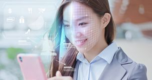 Shopping with facial recognition royalty free stock image