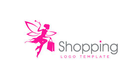 Shopping Fairy Logo Template. Shopping Fairy with the Magic Wand. Fashion Logo Template. Vector Illustration isolated on white background Stock Image