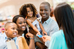 Shopping family at the cashier Stock Photography