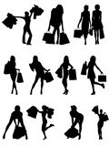 Shopping family and girls silhouettes . Stock Photography