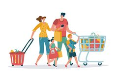 Shopping family. Mom dad kids shop basket cart consume retail purchase store grocery mall supermarket cartoon shoppers vector illustration