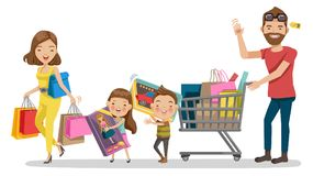 Shopping. Family shopping in Holiday. Happy family with shopping. Father, mother, son, daughter. Big discount. Purchasing of goods, gifts, Toys, Vector royalty free illustration