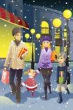Shopping family in winter vector illustration