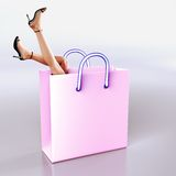 Shopping fantasy. Dream - with a shopping bag and woman legs. Clipping path for legs with bag is saved in jpg format vector illustration