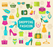 Shopping and Fashion background  - Illustration Royalty Free Stock Photo