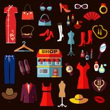Shopping, fashion and beauty flat icons Stock Photography