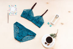 Shopping and fashion concept. Set of glamorous stylish sexy lace lingerie with morning coffee, woman accessories on Stock Image