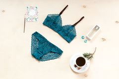Shopping and fashion concept. Set of glamorous stylish sexy lace lingerie with morning coffee, woman accessories on Royalty Free Stock Photos