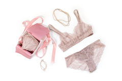 Shopping and fashion concept. Set of glamorous stylish sexy lace lingerie in pink giftbox with woman accessories on Royalty Free Stock Photos