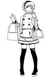 Shopping fashion girl. Illustration,black and white,art,outline Stock Image