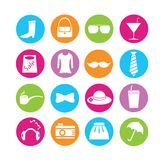 Shopping and fashion icons. Set of 16 shopping icons in colorful buttons Royalty Free Stock Images