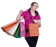Shopping fat girl Stock Photos