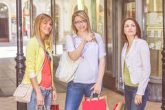 Shopping Female Friends Buying Outdoor Royalty Free Stock Photos