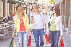 Shopping Female Friends Buying Outdoor Stock Image
