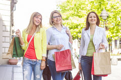 Shopping Female Friends Buying Outdoor Stock Images