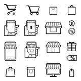 Shopping and festival icon set Royalty Free Stock Photo