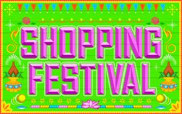 Shopping Festival. Illustration of shopping festival background in truck paint style Royalty Free Stock Photography