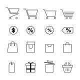 Shopping and festival line icon set. Vector design eps10 Stock Photos