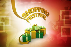 Shopping festival offer concept. In color background Royalty Free Stock Image