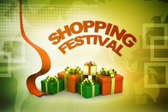 Shopping festival offer concept. In color background Royalty Free Stock Photography