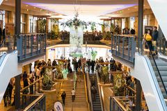 Shopping fever on Sunday afternoon in a popular gallery in Germany. Pforzheim stock images