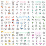Shopping, finance, business, communications, wedding, navigation internet website mega set outline vector icons. Illustration Royalty Free Stock Photo