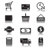 Shopping and finance icon set. Commerce symbols with reflection. Shopping and finance icon set  on white background. Symbols for supermarket and commerce with Stock Photo