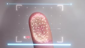 Biometric scanner scanning a human finger and identifying the user for access. slow motion. Shopping by finger Touch, ID Fingerprint scan Access icon. Touch stock video footage