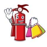 Shopping fire extinguisher character cartoon. Vector illustration Stock Photos