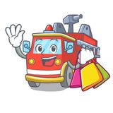 Shopping fire truck character cartoon. Vector illustration Stock Images