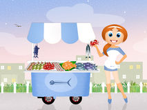 Shopping fish. Illustration of shopping fish cart Royalty Free Stock Photography