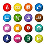 Shopping flat colored buttons set 01 Stock Photo