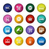 Shopping flat colored buttons set 03 Royalty Free Stock Images