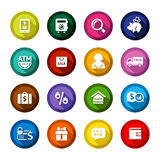 Shopping flat colored buttons set 04. Set colored flat buttons, white symbols with shadow. Vector illustration 10eps Stock Photo