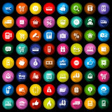 Shopping flat colored icons set Stock Photos