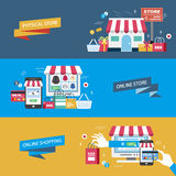 Shopping flat design. Illustration - physical store. online store and online shopping Stock Photography