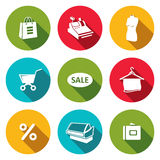 Shopping flat icons collection Stock Images