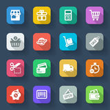 Shopping flat icons. Colorful. Set of flat icons about shopping in a square with long shadow Stock Image