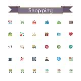 Shopping Flat Icons Stock Photo